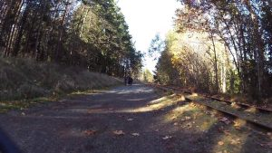 Riding along the rail trail to Coombs